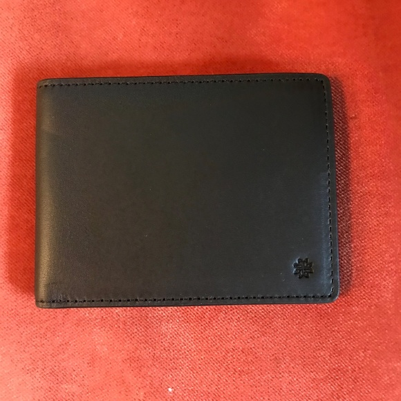 HOOK & ALBERT Black Leather Bifold Wallet NWT
